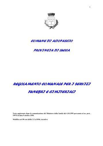 Regolamento per i servizi funebri e cimiteriali - Comune di Altopascio