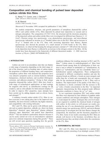 Composition and chemical bonding of pulsed laser deposited ...