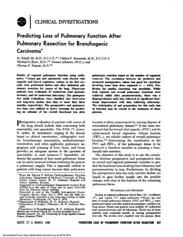 Predicting Loss of Pulmonary Function After Pulmonary Resection ...