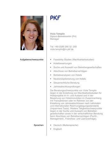 Viola Templin Diplom-Betriebswirtin (FH) - PKF Fasselt Schlage