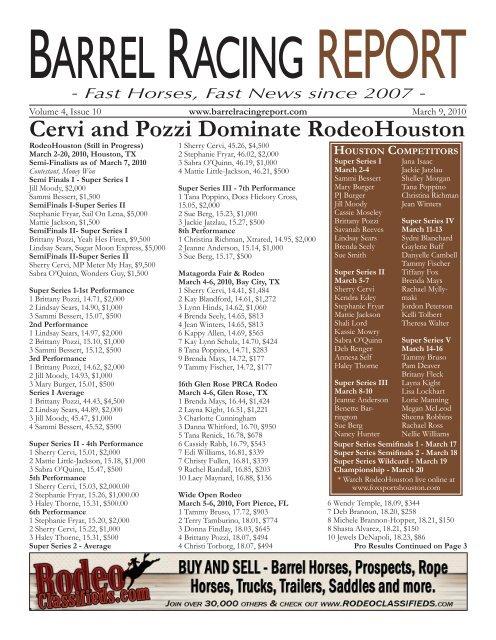 Cervi and Pozzi Dominate RodeoHouston - Barrel Racing Report