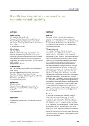 E-portfolios: developing nurse practitioner competence and capability