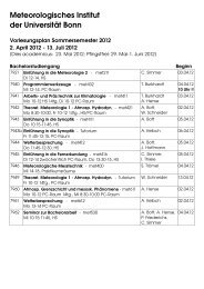 Sommersemester 12 - Meteorologisches Institut der Universität Bonn