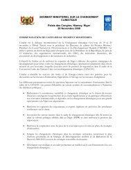 SEGMENT MINISTERIEL SUR LE CHANGEMENT ... - UNDPCC.org