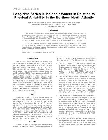 Long-time Series in Icelandic Waters in Relation to Physical ...