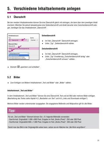 5. Verschiedene Inhaltselemente anlegen - Der Internet ...