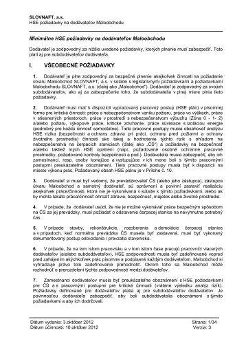 Minimálne HSE požiadavky na dodávateľov Malobchodu ... - Slovnaft