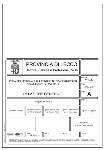Relazione generale - Provincia di Lecco
