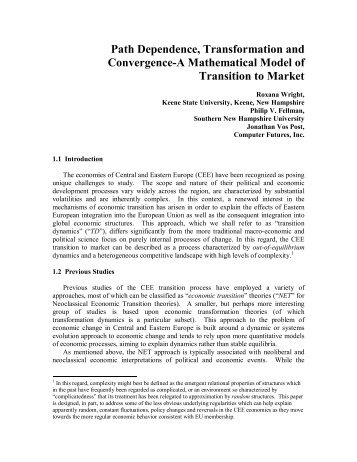 Path Dependence, Transformation and Convergence-A ...