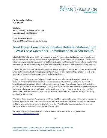 Commitment to Ocean Health - Joint Ocean Commission Initiative