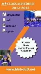 class schedule 2012-2013 - Metropolitan Education District