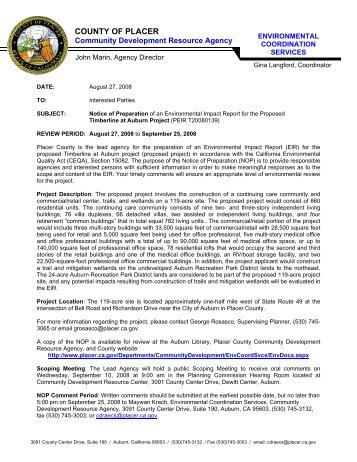 Notice of Preparation - Placer County Government