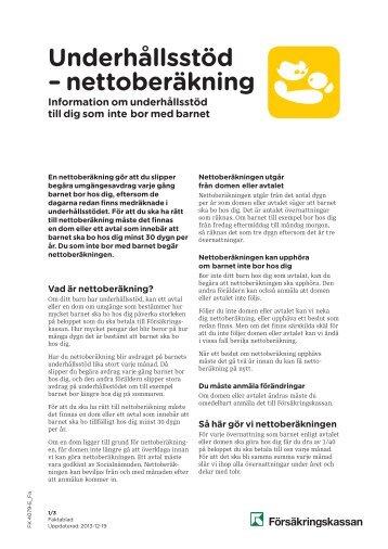 Underhållsstöd, nettoberäkning [pdf 151 kB] - Försäkringskassan