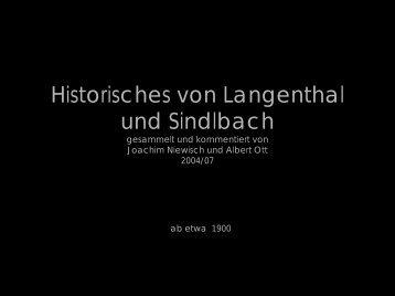Historisches von Langenthal und Sindlbach - Das Langenthal