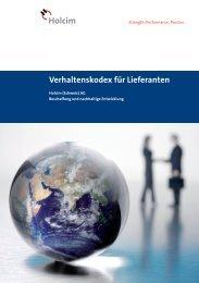 Lieferantenkodex - Holcim Schweiz