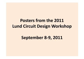 Poster Session - Lund Circuit Design Workshop