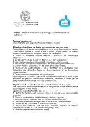 Unidade Curricular: Comunicação e Psicologia / Communication ...