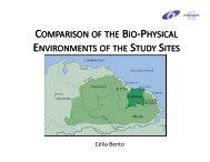 comparison omparison of the bio-physical environments ...