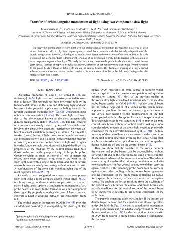 Transfer of orbital angular momentum of light using two-component ...