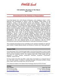 Amendment to the Articles of Association - Coca Cola İçecek