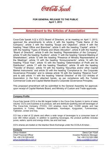 Amendment to the Articles of Association - Coca Cola İçecek