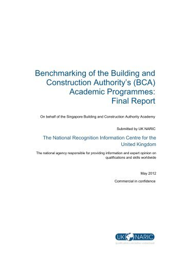 Download full copy of benchmarking exercise report ... - BCA Academy