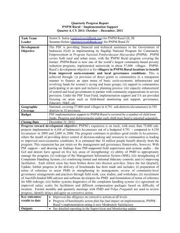 Quarterly Progress Report PNPM Rural – Implementation Support ...
