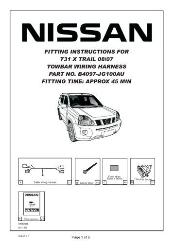 NBN110SY FITTING INSTRUCTIONS NISSAN X-TRAIL 01/10 on