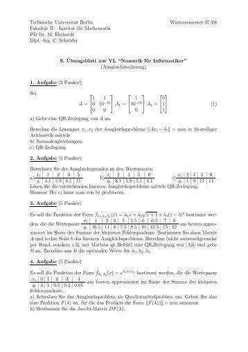 Institut für Mathematik PD Dr. M. Ehrhardt Dipl.–Ing. C.