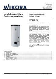 Hochleistungsspeicher WP/SOL - Wikora GmbH
