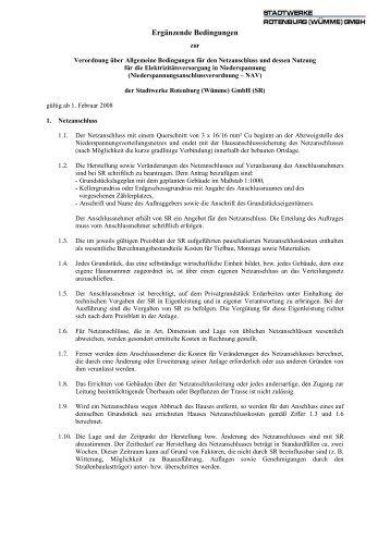 Ergaenzende Bedingungen zur NAV 01.02 - Stadtwerke Rotenburg