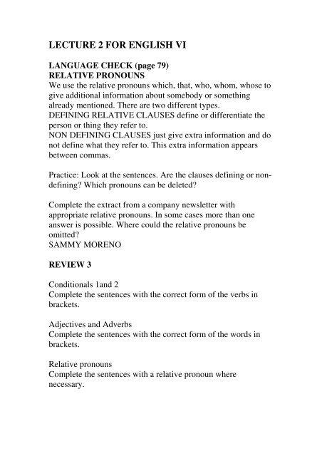 LECTURE 2 FOR ENGLISH VI LANGUAGE CHECK (page 79)
