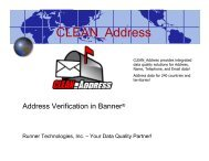 Address Verification in Banner - Runner Technologies