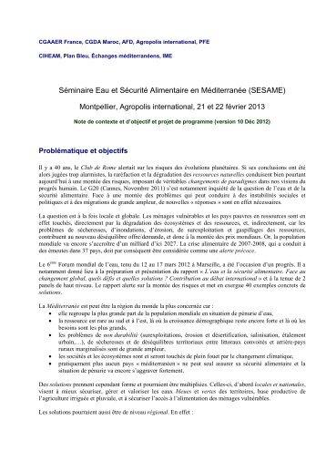 Note d'objectifs et programme détaillé du séminaire - Agropolis ...