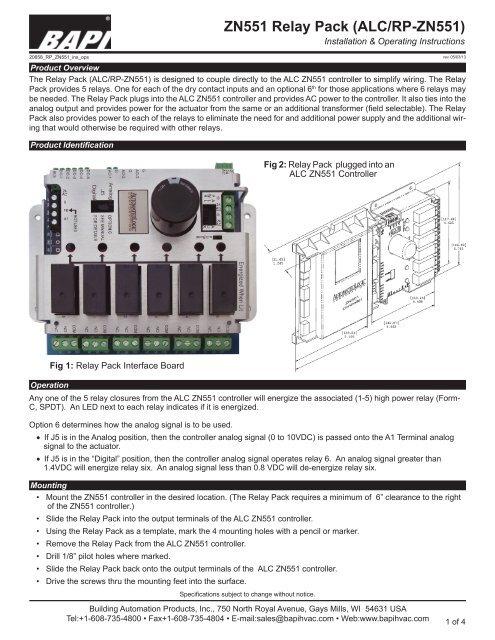 ZN551 Relay Pack (ALC/RP-ZN551) - BAPI