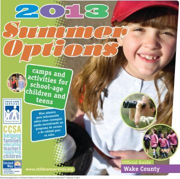 Summer Options Guide 2013, Wake County - Child Care Services ...
