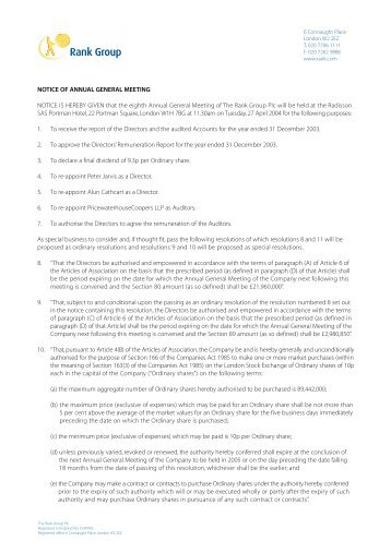 Notice of Annual General Meeting 2004 - Rank Group