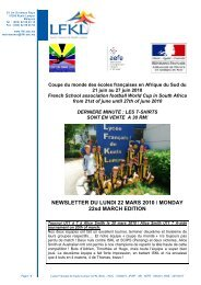 NEWSLETTER DU LUNDI 22 MARS 2010 / MONDAY 22sd MARCH ...