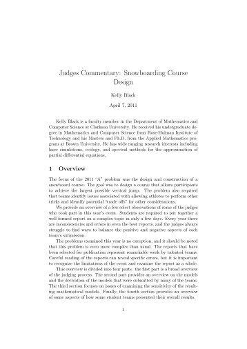 Judges Commentary: Snowboarding Course Design - COMAP