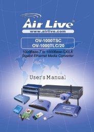 AirLive OV-1000TSC, OV-1000TLC/20 User's Manual