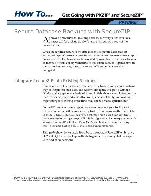 How to Secure Database Backups - PKWare
