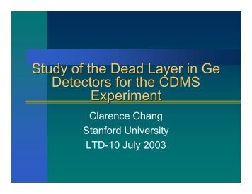 STUDY of DEAD LAYER in GERMANIUM DETECTORS for the ...