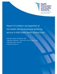 Report on a follow-up inspection of the Health Service ... - hiqa.ie