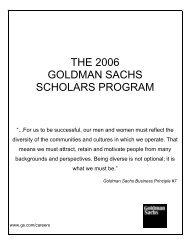 the 2006 goldman sachs scholars program - The Jackie Robinson ...