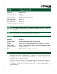 AA 15 College Credentials - Algonquin College