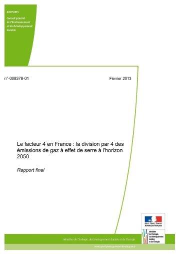 Le facteur 4 en France : la division par 4 des émissions de ... - cgedd