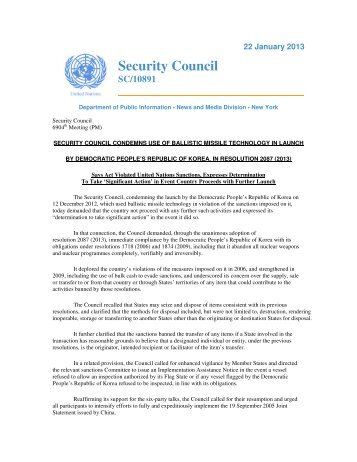 UN Security Council Resolution 2087 - National Committee on North ...