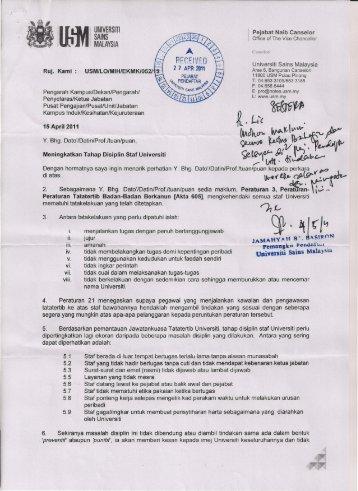 Meningkatkan Tahap Disiplin Staf Universiti - Jabatan Pendaftar