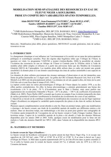 INTEGRATION DE LA VARIABILITE SPATIO-TEMPORELLE - IWRA
