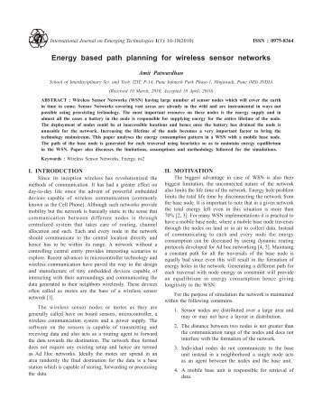 Energy based path planning for wireless sensor networks Amit ...
